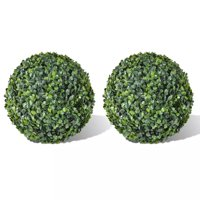 """WALFRONT Boxwood Ball Artificial Leaf Topiary Ball 13.8"""" 2 pcs"""