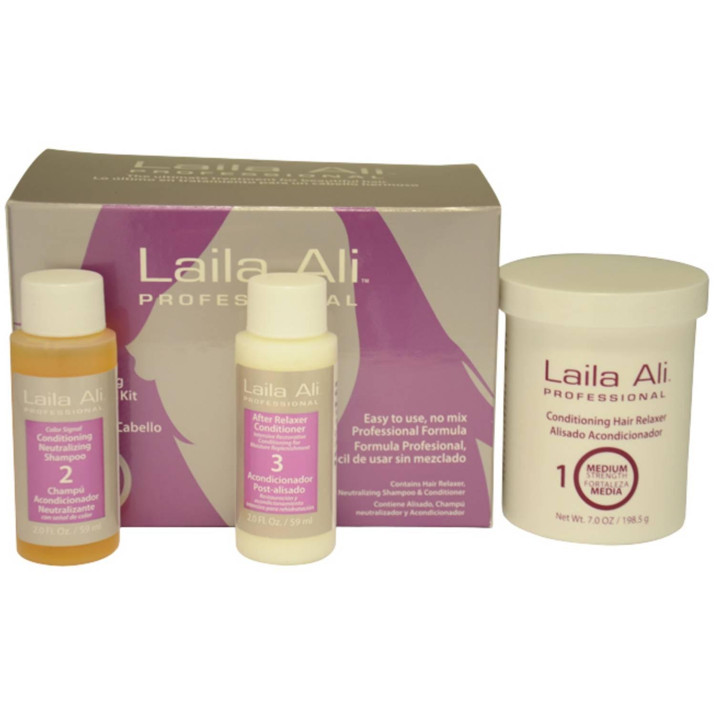 Laila Ali Medium Strength Conditioning for Unisex Hair Relaxer Kit