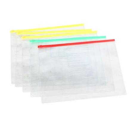 Unique Bargains Zip Lock Bags Pockets for Pen A4 Paper Files Folders Storing 5 Pcs