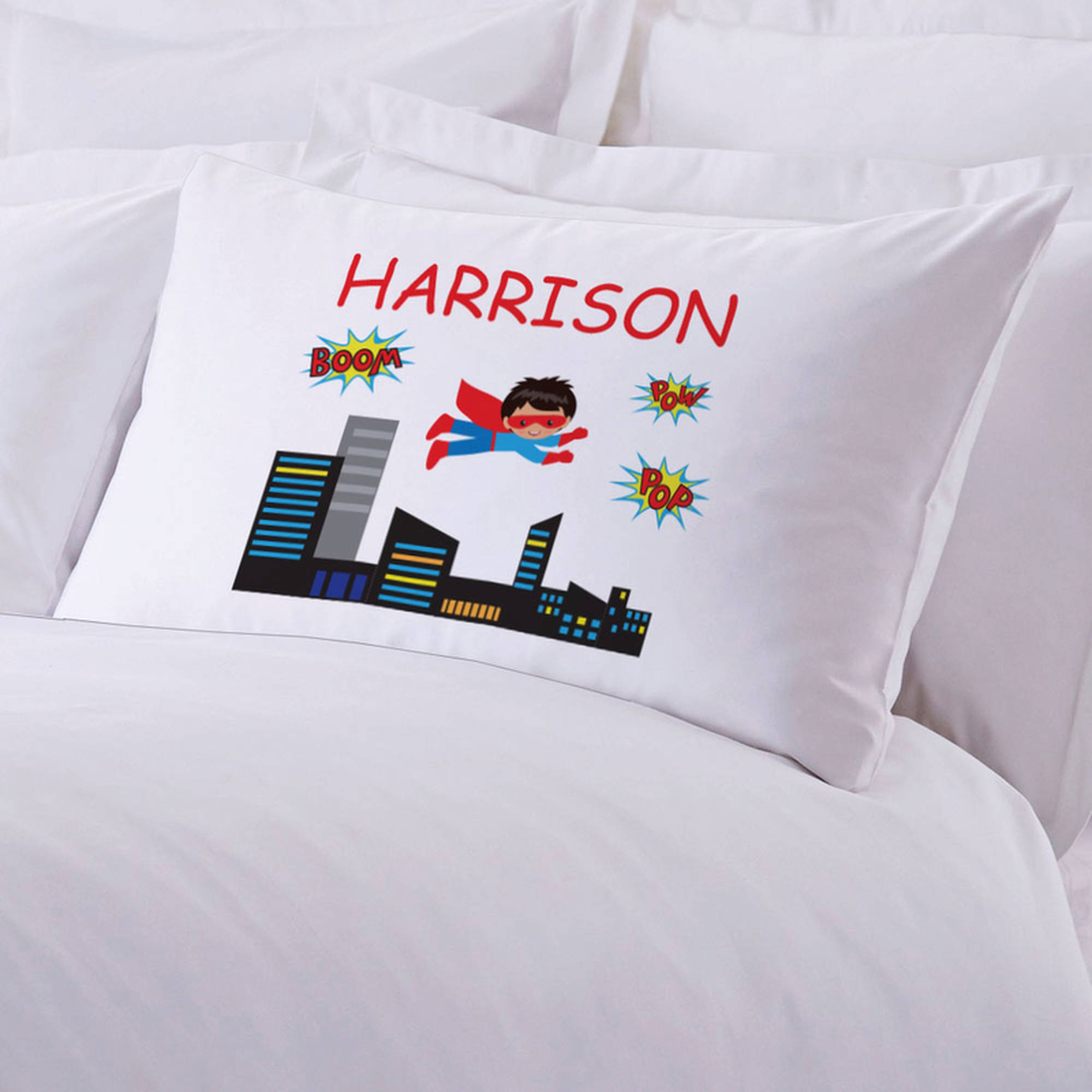 "Personalized Kids Superhero Pillowcase, 20"" x 30"""