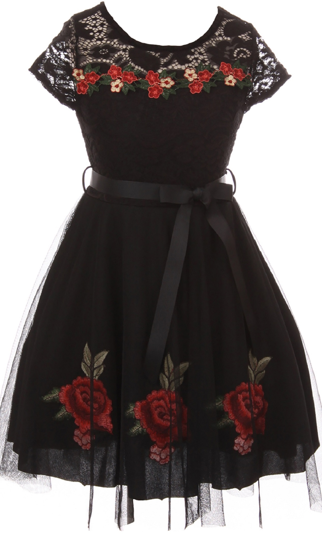 fa03a993e91 BluNight Collection - Little Girls Cap Sleeve Floral Lace Roses Tulle  Christmas Holiday Flower Girl Dress Black 4 (2J0K9S7) - Walmart.com