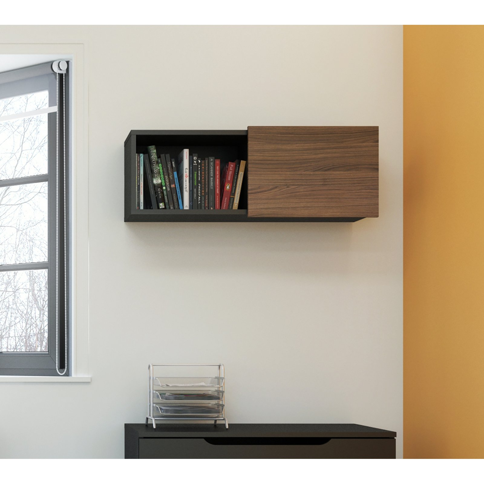 Nexera Next Wall Unit, Black/Walnut