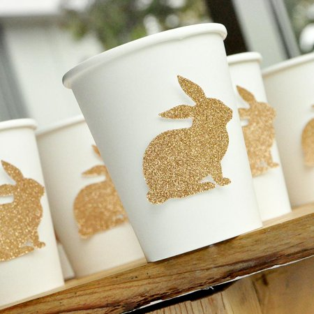 Glitter Champagne Bunny Cups 10CT. Paper Party Cups. Easter Paper Cups. - Champagne Cups