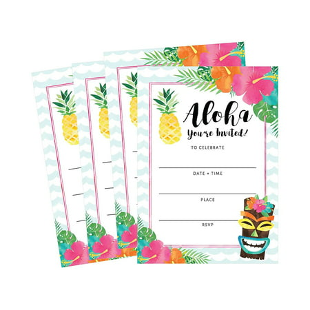 Floral Invite - 50 Hawaiian Luau Summer Swim Pool Party Invitations for Children, Kids, Teens & Adults, Summertime Birthday Cookout Invitation Cards, Boys & Girls Floral Fill-In Invite, Family Reunion BBQ Invites