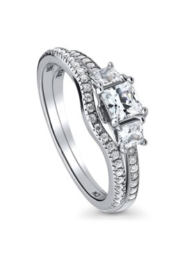 Cz, Moissanite & Simulated 2.53ct Princess Cut Real Sterling Silverengagement Wedding Ring Set Size 4-11