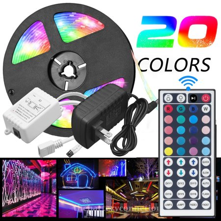 Vlight 5M RGB 5050 Waterproof LED Strip light SMD 44 Key Remote 12V US Power Full Kit