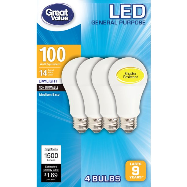 Great Value Led Light Bulb 14 Watts 100w Equivalent A19 General Purpose Lamp E26 Medium Base Non Dimmable Daylight 4 Pack Walmart Com Walmart Com