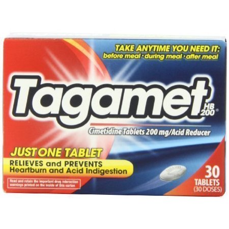 Acid Reducer Relives and Prevents Heartburn and Acid Indigestion 30 Tabs Memories are created when you least expect them. And while you want to celebrate and hold on to the moment, it's the heartburn that you'd like to forget. Manage your heartburn with Tagamet HB 200. Just One Tablet of Tagamet HB 200 relieves and prevents heartburn, acid indigestion, and sour stomach. Many heartburn sufferers feel like heartburn controls their life. Not true with Tagamet HB 200. Tagamet lets you enjoy life and eat what you want. Take a few minutes and see how Tagamet can help you by preventing and relieving heartburn symptoms and acid indigestion or sour stomach. Tagamet HB 200 controls stomach acid for hours and prevents heartburn from returning. Tagamet HB 200 can also be taken at bedtime to prevent heartburn at night. Take any time you need it: before a meal, during a meal, or after a meal. 30-Tablets per Pack. Active Ingredient (in each tablet): Cimetidine 200mg