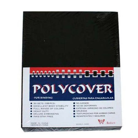 "12mil Black Sand Poly 8.5"" x 11"" Covers (100pk), By Akiles"