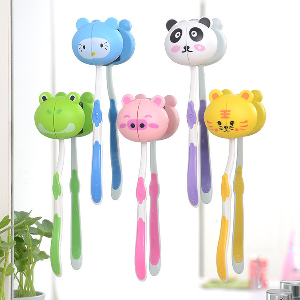 Mosunx Lovely Cartoon Animal Head Toothbrush Holder Stand Cup Mount Suction