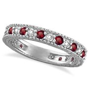 14k Gold 1 1/10ct Diamond & Ruby Anniversary Ring Band (G-H, SI1-SI2) 14k White Gold - Size 4