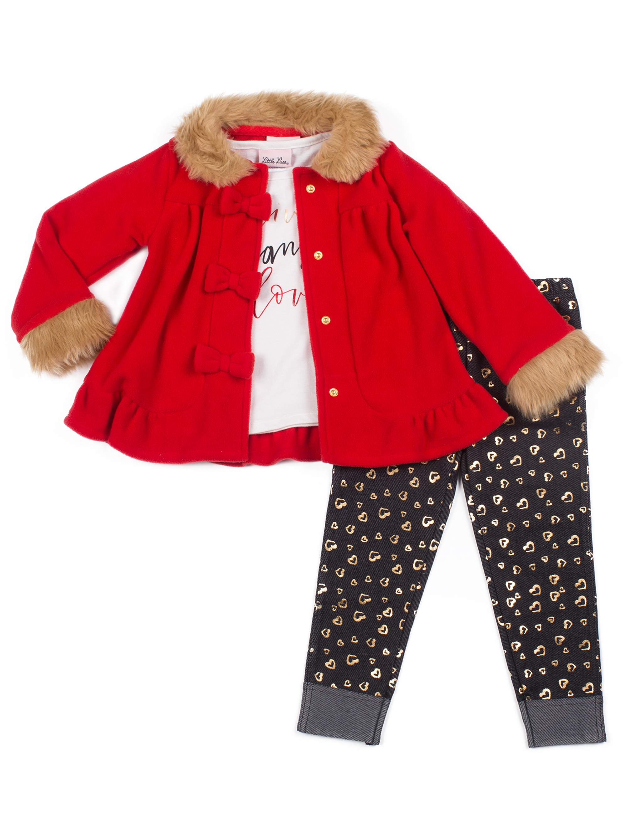 6ea8f6c14a13 Little Lass - Little Lass Faux Fur Trim Polar Fleece Bow Jacket ...
