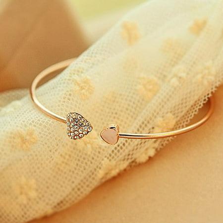 Bracelets For Women Simple Style Gold Rhinestone Love Cuff