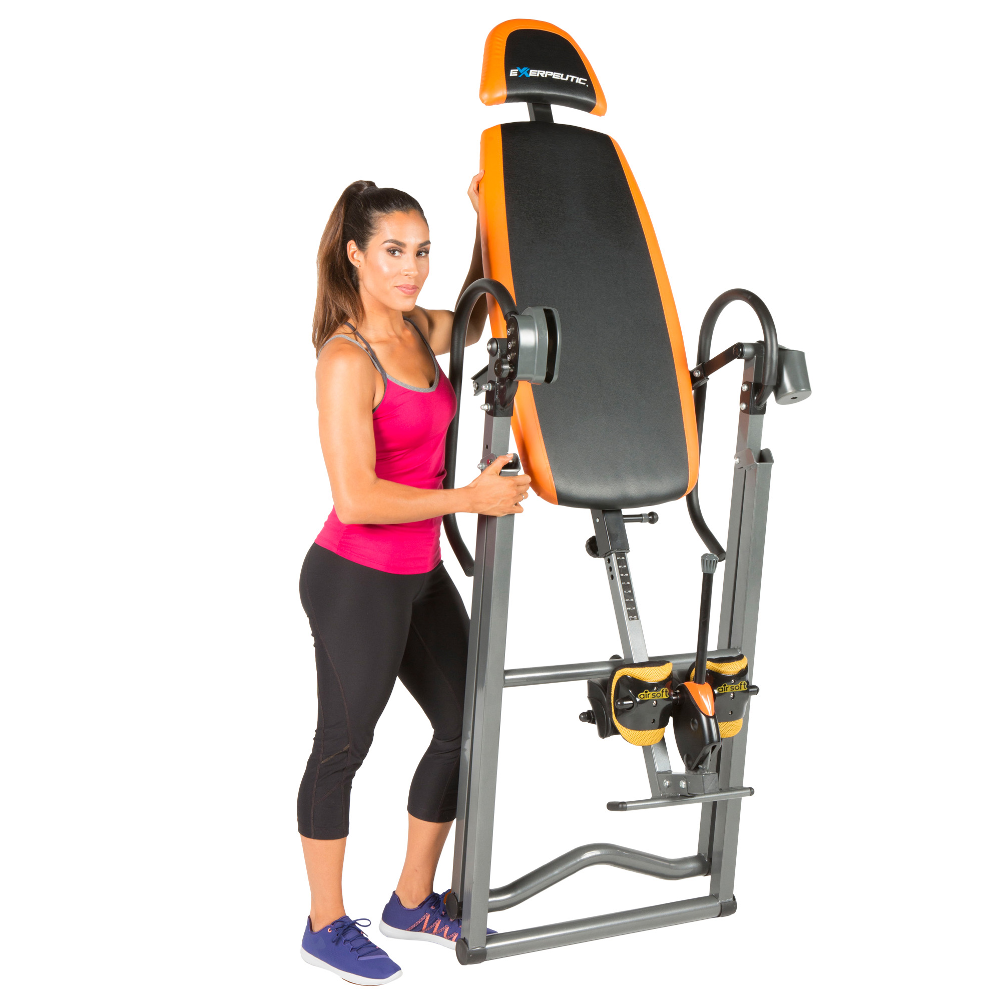 EXERPEUTIC 475SL Inversion Table with AIRSOFT No Pinch Ankle Holders and SURELOCK Safety Ratchet System