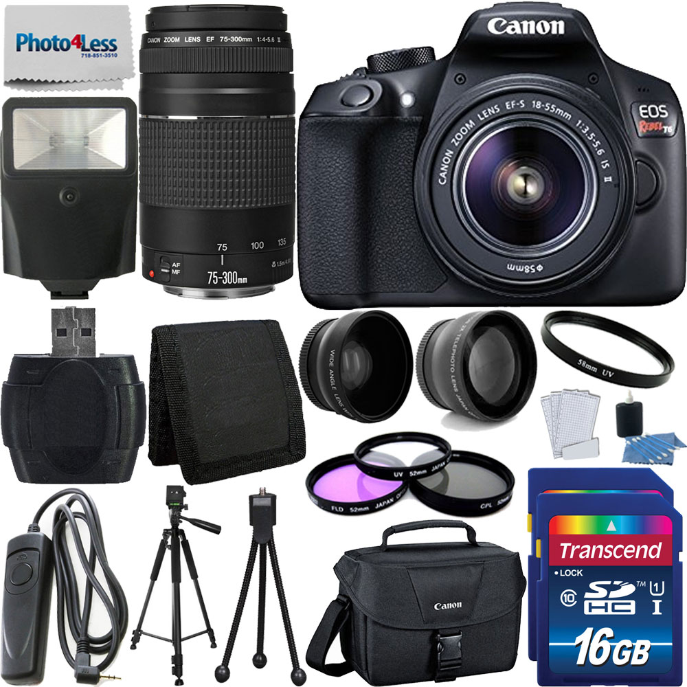 Canon T6 EOS Rebel 18MP DSLR Camera 18-55mm & 75-300mm Lens + More