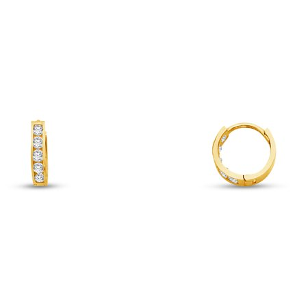14k Yellow Gold 2mm CZ Cubic Zirconia Channel Set Hoop Huggies Earrings (10 x 10 mm) (Diamond Channel Huggie Earrings)