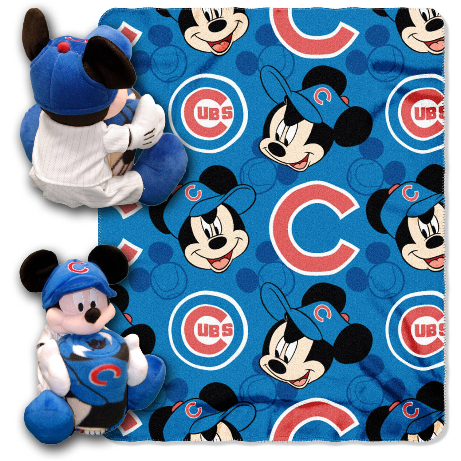 "Disney MLB Chicago Cubs Pitch Crazy Hugger Pillow and 40"" x 50"" Throw Set"