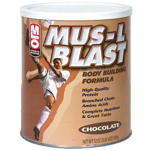 MLO Sports Nutrition Mus-L Blast Chocolate Body Building Formula Protein Powder, 47 oz