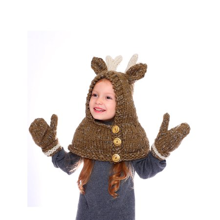 DRESSWEL Kids Christmas Deer Knit Hats With Scarf Beanies Cute Ears