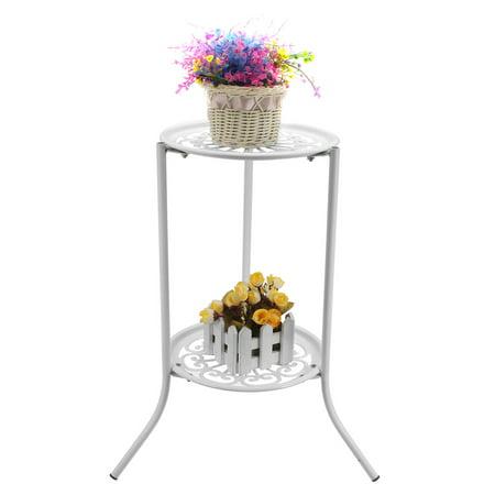 Metal Round Plant Stand Plants Shelf Holder Two-layer Decorative Flower Pot - image 4 de 8