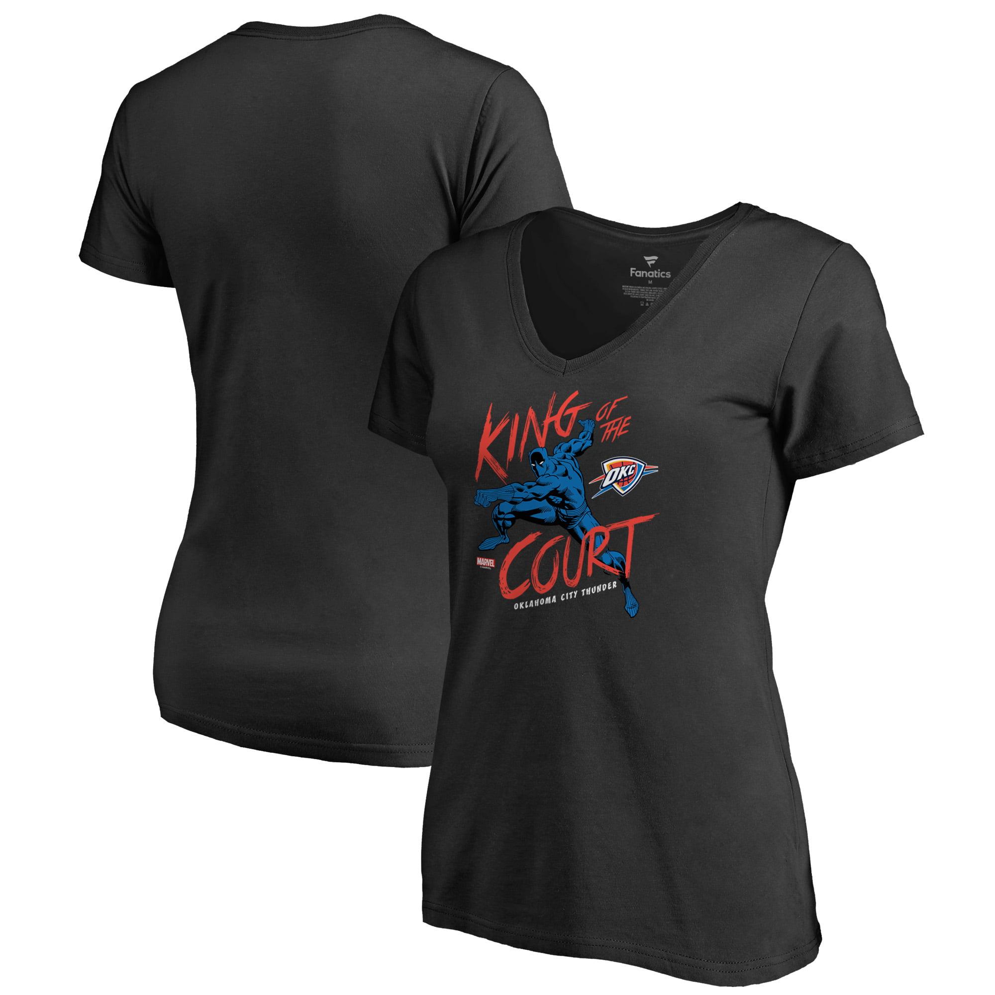 Oklahoma City Thunder Fanatics Branded Women's Marvel Black Panther King of the Court V-Neck T-Shirt - Black