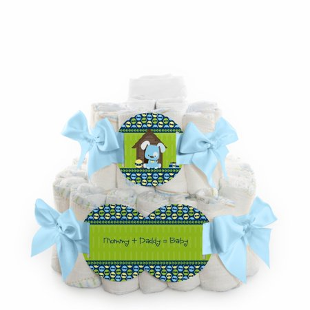 boy puppy dog 2 tier square baby shower diaper cake