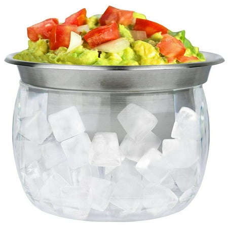 - Estilo Stainless Steel Dip Chiller Bowl with Acrylic Ice Chamber Bowl Base