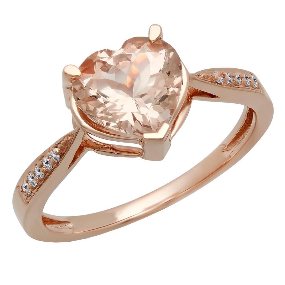Dazzling Rock 14K Rose Gold Heart-Shaped Morganite & Roun...