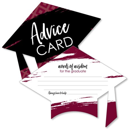 Maroon Grad - Best is Yet to Come - Burgundy Grad Cap Graduation Party Advice Cards - Set of 20](Dimensions Of A Graduation Cap)
