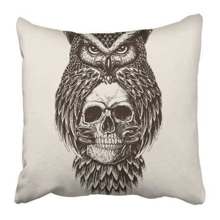 BPBOP Tattoo Elaborate Drawing of Owl Holding Skull Vintage Engraved Abstract Bird Dead Engraving Feather Pillowcase Pillow Cover 20x20 inches