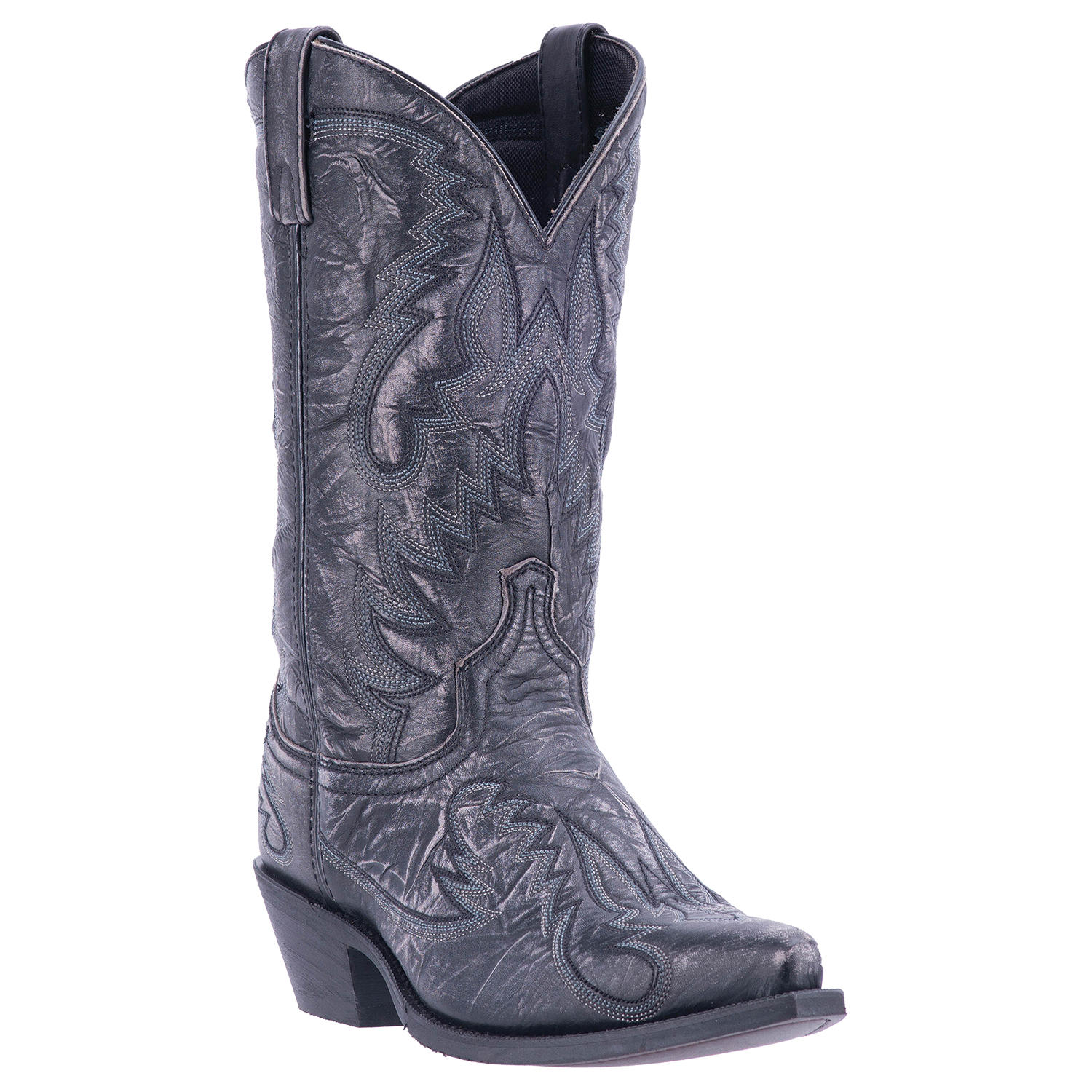 """Click here to buy Laredo Garrett Mens Black Distressed Leather 12"""" Western Boots 68407 by DAN POST."""