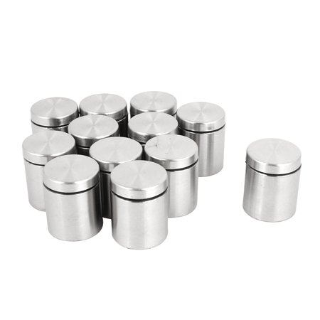 Unique Bargains 12 Pcs 25mm x 30mm Wall Mount Hardware Stainless Steel Glass Standoff Nail