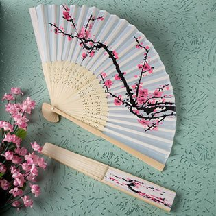 Delicate Cherry Blossom Design Silk Folding Fan Favors, 80, Packed as shown in photo By FavorWarehouse