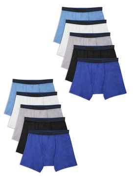 Fruit of the Loom Boys Underwear, Breathable Cotton Boxer Briefs, 10 Pack Sizes 6/8 - 18/20