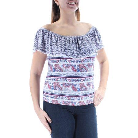 2da9c4a9f96 No Comment - NO COMMENT Womens Blue Paisley Cap Sleeve Off Shoulder Top  Size  XL - Walmart.com