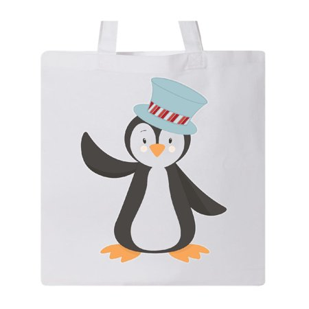 Penguin With Blue Top hat Tote Bag White One Size