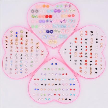 36 Pairs/Box Multi-Color Crystal Cartoon Hypoallergenic Plastic Stud Earrings Set For Women Girl Daughter Gifts Jewelry Girls Earrings Set