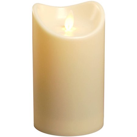 LumaBase Moving Flame Battery Operated LED Pillar Candle,