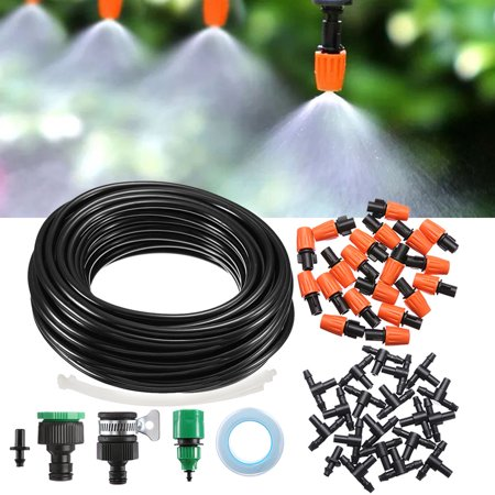 KINGSO 49ft Drip Irrigation Watering Kit Patio Spray Misters Accessories  for Outdoor Garden Greenhouse Nozzles Misting Cooling Self Watering Outdoor
