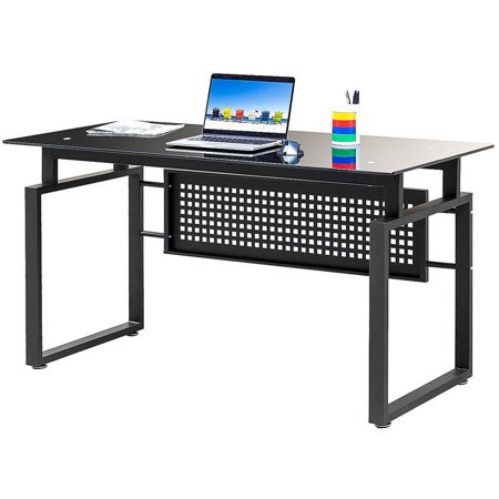 Merax simple design black glass computer desk office table Designer glass computer desk