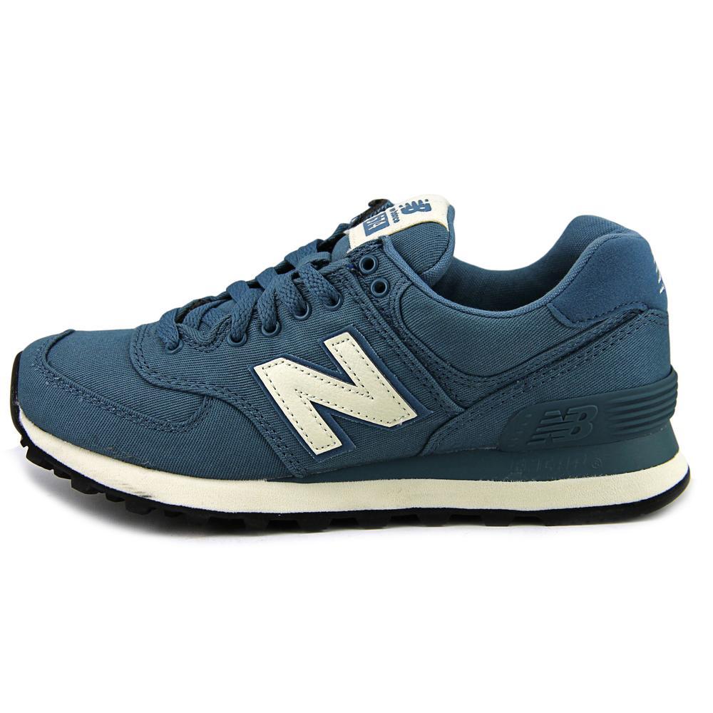 New Balance Toe WL574 Women  Round Toe Balance Canvas Blue Walking Shoe 375710