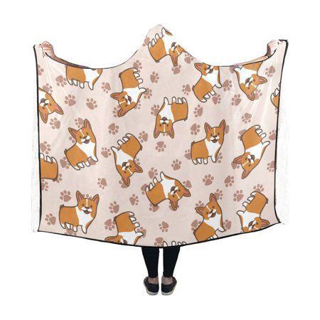 ASHLEIGH Blanket Indoor Pilling Polar Fleece Hooded Blanket, Cute Corgi Dog Pattern Stylish Wearable Hood blankets 50x60 inches