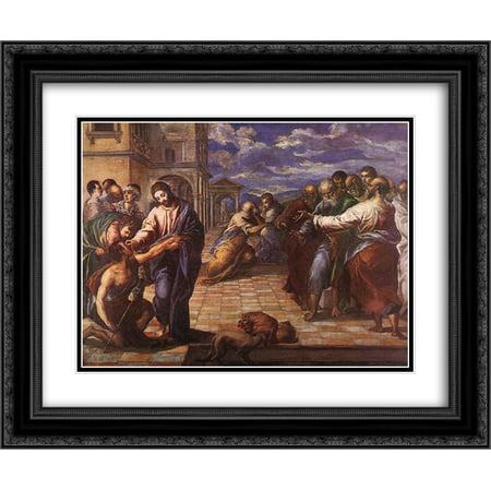El Greco 2x Matted 24x20 Black Ornate Framed Art Print 'Christ healing the blind - Jesus Heals Blind Man