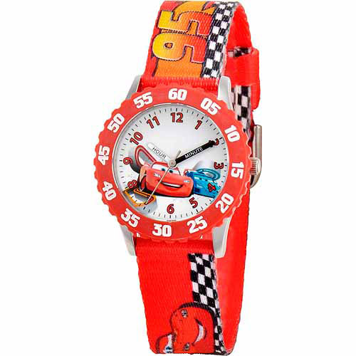 Disney Cars Lightning McQueen and Raoul CaRoule Boys' Stainless Steel Watch, Red Strap