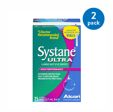 (2 Pack) Systane Ultra Lubricant Eye Drops High Performance Unit Dose Vials, 25 CT