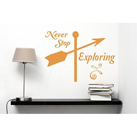 Never Stop Exploring Best Wall Sticker Art Vinyl Lettering Decals Arrow Quote 23x16-Inch Rust