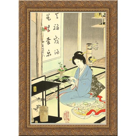 Flower Arranging and Tea Ceremony 24x18 Gold Ornate Wood Framed Canvas Art by Toyohara
