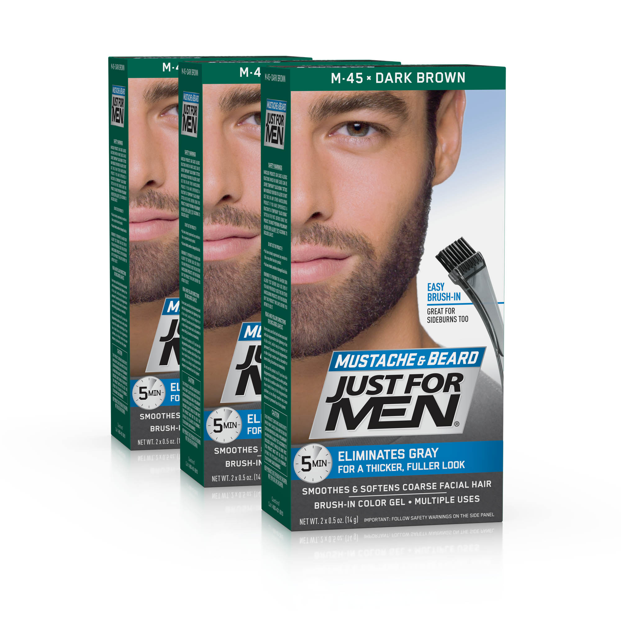 Just For Men Mustache and Beard, Easy Brush-In Facial Hair Color Gel, Dark Brown, Shade M-45 (Pack of 3)