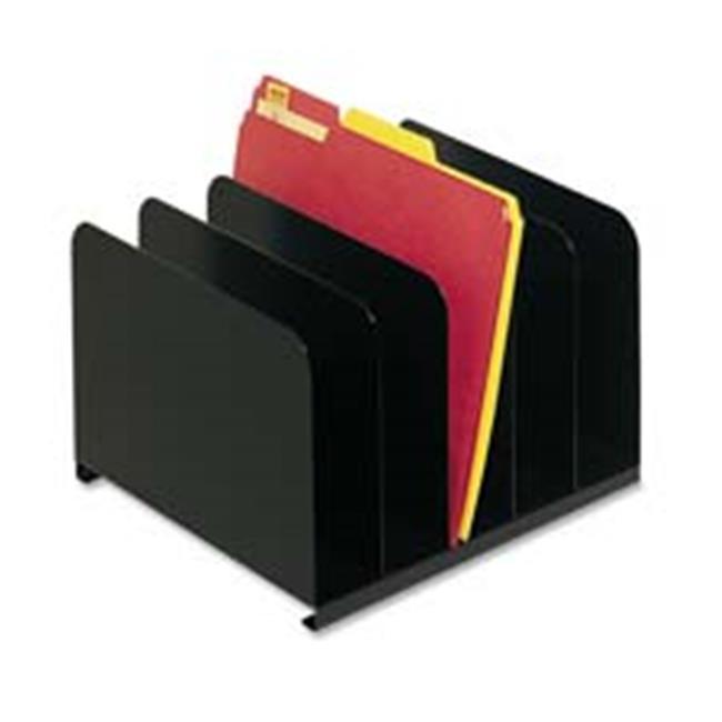 Vertical Organizer- 5 Compartment- 12in.x11in.x8-.13in.- Black
