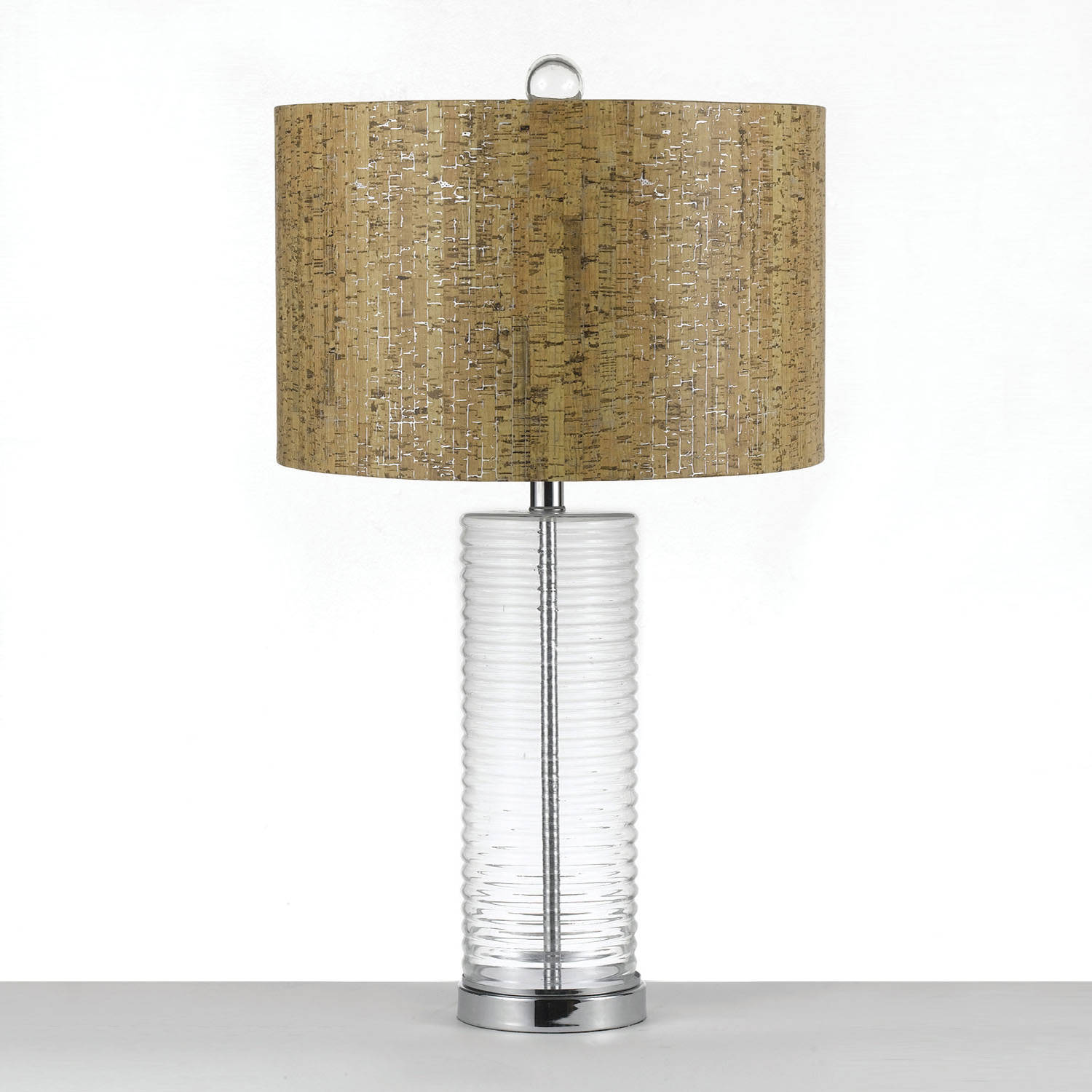 AF Lighting Venus Table Lamp with Faux Cork Shade, Clear Glass